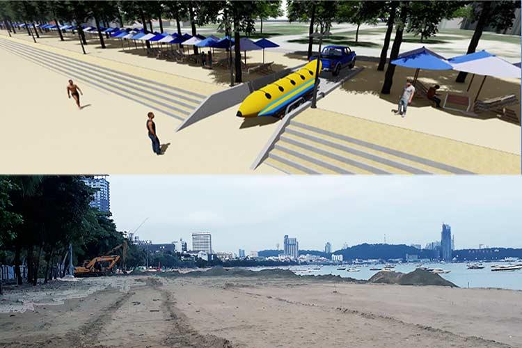 Slik planlegges løsningen i Cha-am (øverst). Nederst et bilde fra de langvarige arbeidene i Pattaya.
