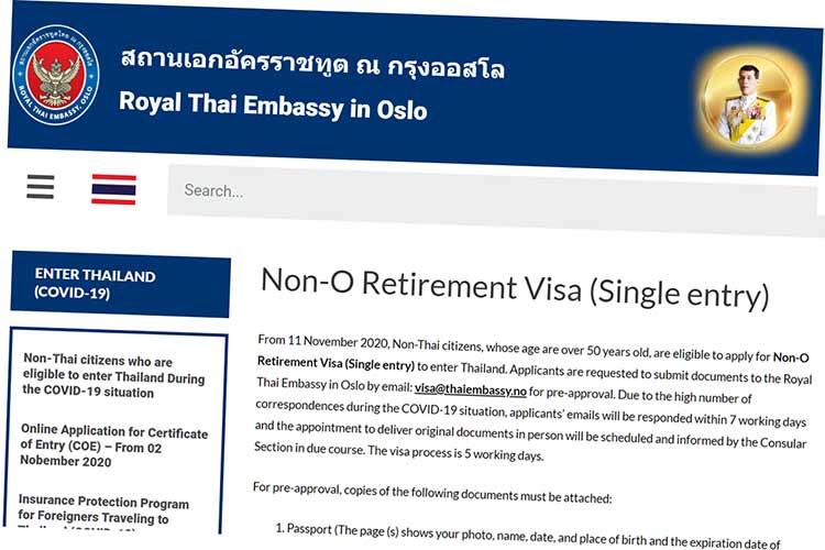 Faksimile: Omtale av pensjonistvisum på websiden til thaiambassaden i Oslo